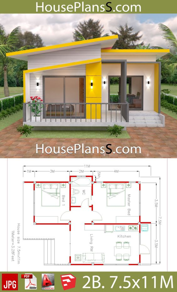 House Plans 7.5x11 with 2 Bedrooms Full plans - House Plans Sam