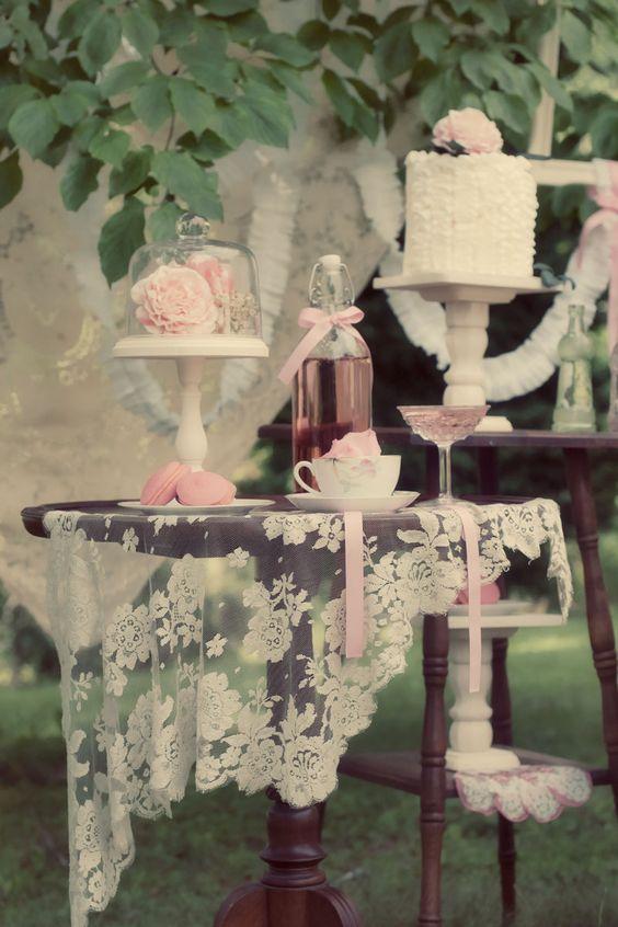 These sweet dessert tables are so chic for a #weddingreception. #laceweddingdecor