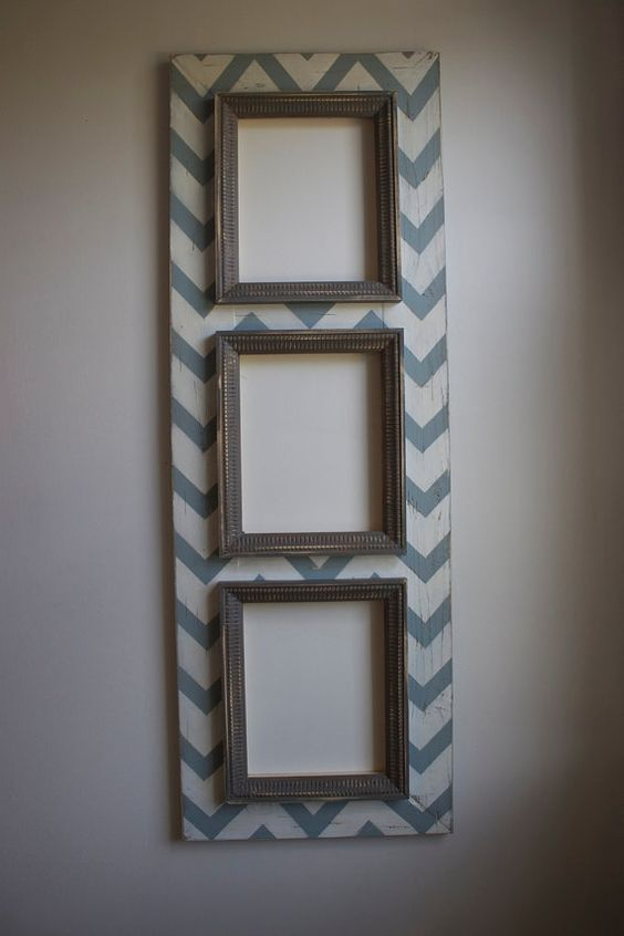 3 Multi CHEVRON Opening Distressed Picture Frame 8x10 by deltagirlframes, $195.00