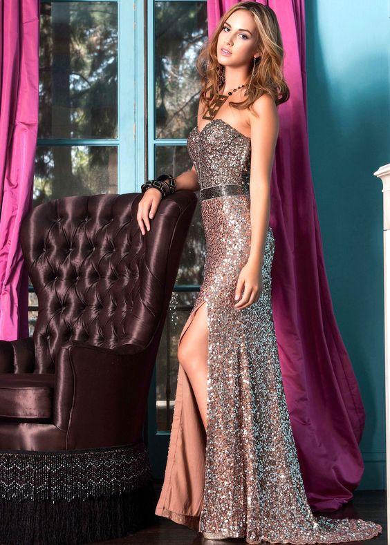 Shail K 3314 - Shimmery Blush Strapless Gown Prom Dresses Online
