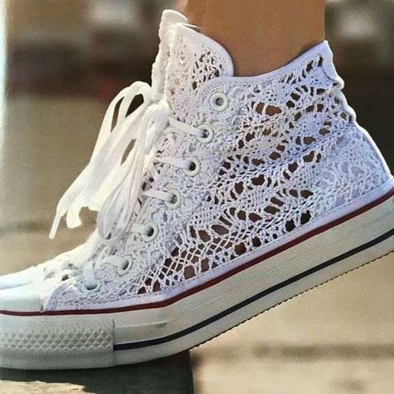 White lace Converse hi-tops