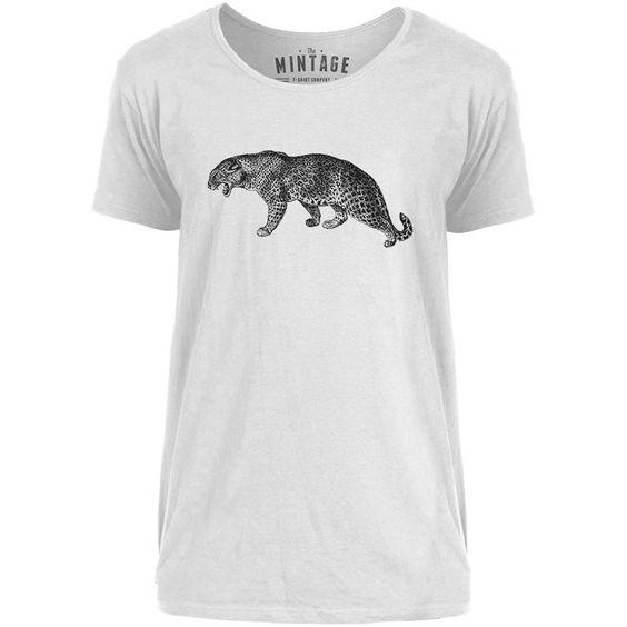 Mintage Big Cat Growling Mens Scoop Neck T-Shirt