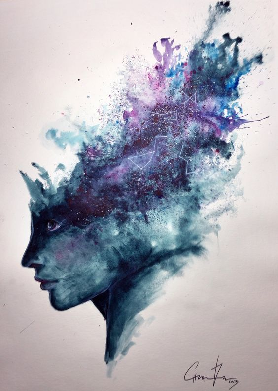 watercolor abstract portrait universal mind speed