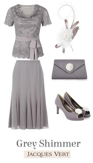New In Mother of the Bride Outfits 2015 | New Grey Shimmer Top and Skirt Set with matching accessories | Mother Of The Bride from Jacques Vert