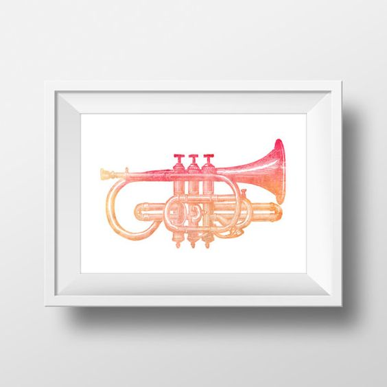 Watercolor Trumpet Printable Art / 8 x 10 by VNBDesigns on Etsy