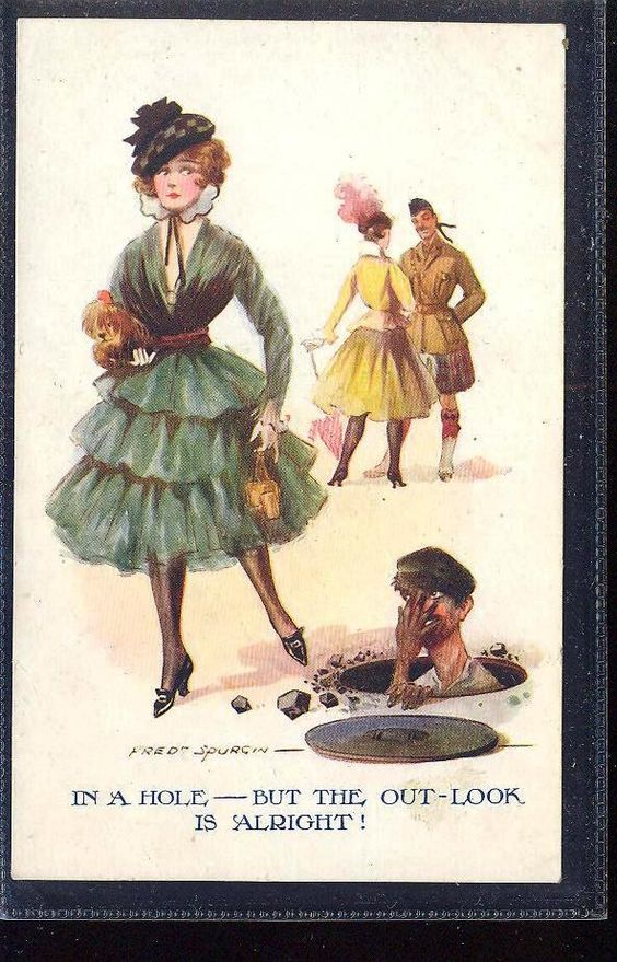 Pretty Girl & Worker in Sewage Humour signed Fred Spurgin gla461: