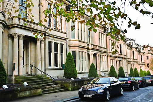 Glasgow West End - Tree lined Victorian terrace location for luxury boutique hotel. Hotel du Vin at One Devonshire Gardens