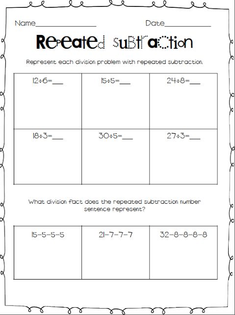 Repeated Subtraction Worksheets Repeated Subtraction Subtraction Worksheets Subtraction