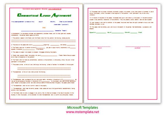 Agreement Documents, Agreement Templates, Agreements, Commercial - net lease agreement template