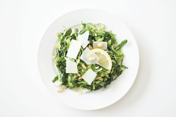 raw shredded brussels sprouts and kale, tossed with fresh lemon juice, olive oil, salt & pepper, with pecorino romano cheese and pine nuts