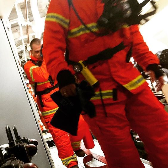 Exercise today is a fire drill in the engine room. We went all out hoses casualty evac boundary  cooling BA.  It is good to have these exercises. Every one gets an insight to the rabbit warrant that is the engine room.  #offshorework  #offshoretraining #theoffshorehusband #thefifohusband #offshorelife #wethoughtdaddyworkedonanaeroplane #wecanallsticktogether by theoffshorehusband