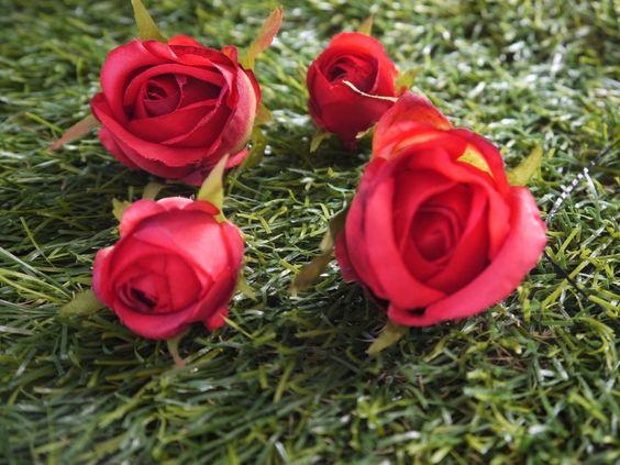 Haarnadel, Haarklemme, Rosen, rot, Rose, Blüte von GeschmeideZauber auf DaWanda.com