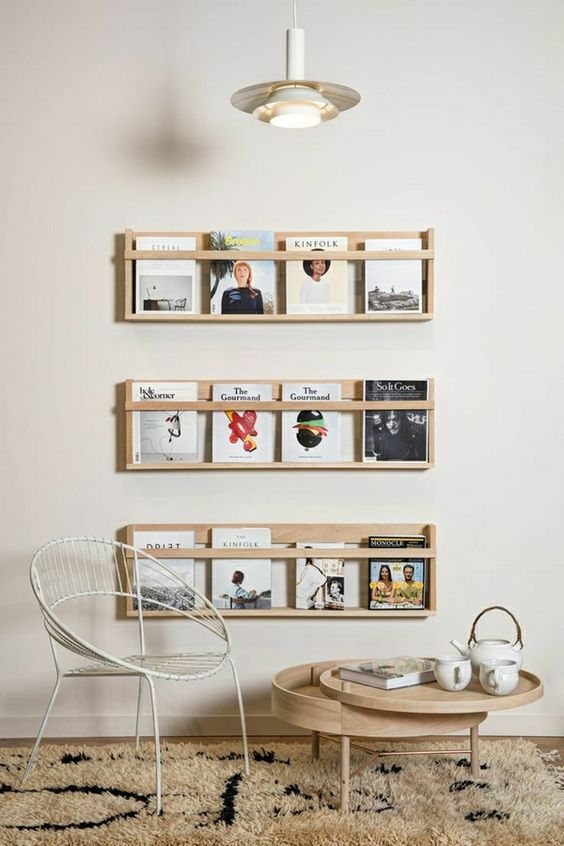 Inspiration design and tables on pinterest for Porte revue mural ikea