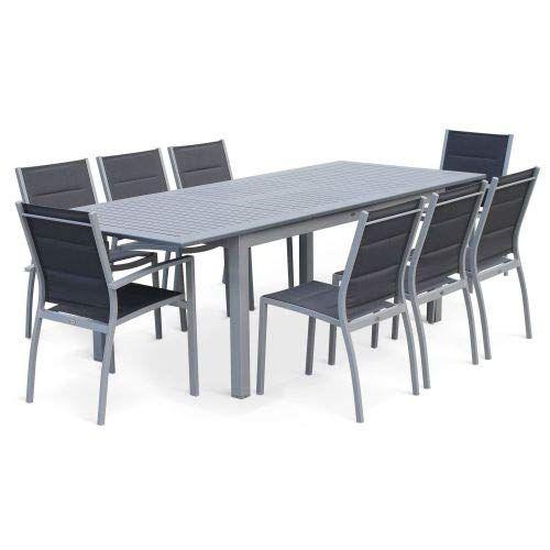Table de jardin carrée aluminium - Stella - Gris