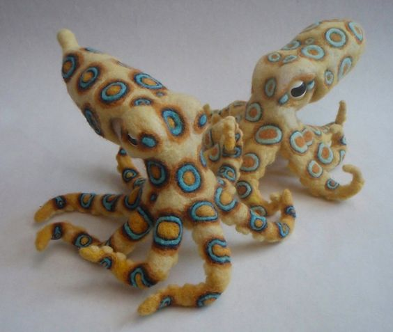 Blue-ringed Octopus. Needle-felted plush. $250.00, via Etsy.