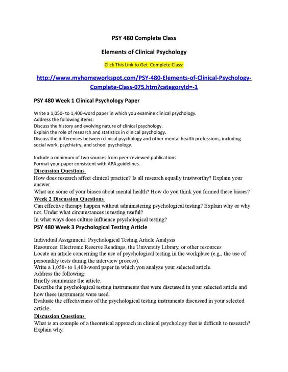 PSY 480 Complete ClassElements of Clinical PsychologyClick This Link