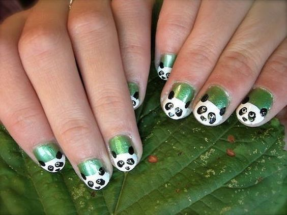 Panda nail art design