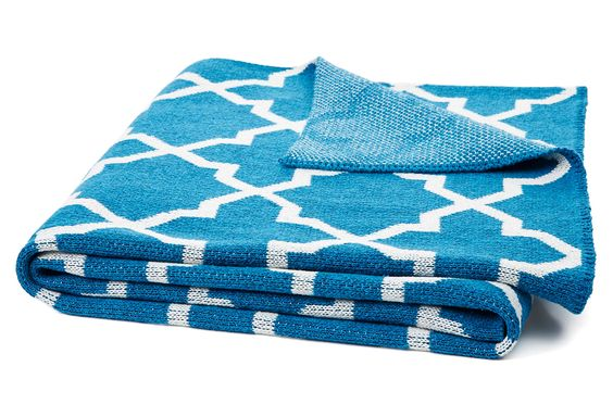 One Kings Lane - All for Nautical - Morroco Knit Cotton Blend Throw, Teal