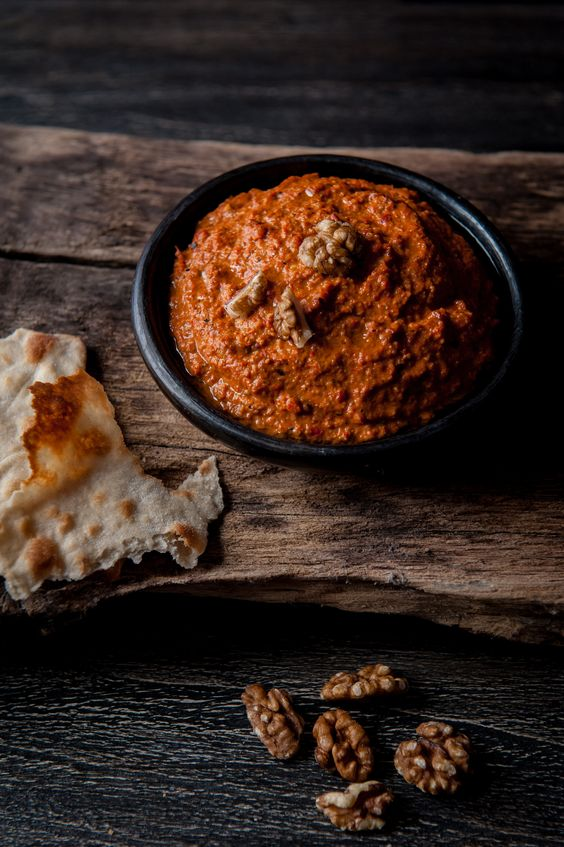 Muhammara   - Syrian dip with charred red bell peppers, walnuts and pomegranate molasses