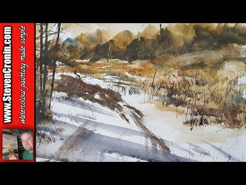 Snow In The Park Watercolour Landscape Painting Demo Youtube