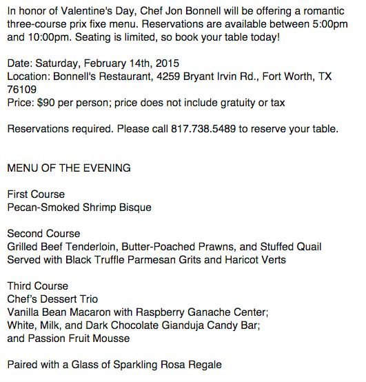 Bonnell\'s Fine Texas Cuisine | Fort Worth | Be My Valentine ...