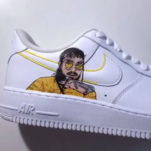 Remolque Persona a cargo del juego deportivo Armonía  Yellow Post Malone Nike Air Force One Custom Sneaker | Custom sneakers, Air  force one shoes, Nike air force ones