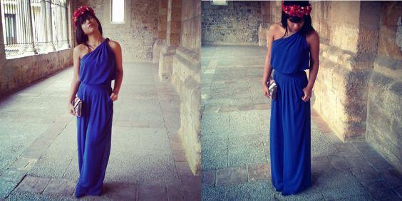 pantalon palazzo y top azul klein la mona de seda