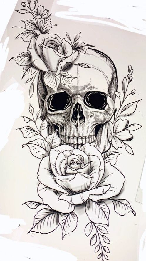 Pin By Alemtattoo On Calavera Floral Skull Tattoos Skull Rose Tattoos Arm Tattoos Skulls