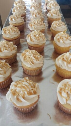 Almond flavor cupcakes with salted caramel buttercream