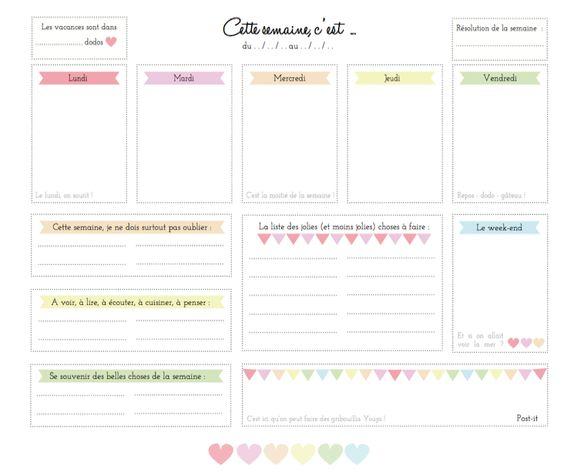 J'ai fait une chouette découverte sur le blog Vie de Miettes : May propose des organiseurs, un semainier, et un joli emploi du temps à impri...