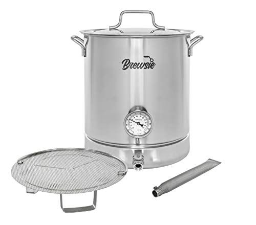Brewsie Stainless Steel Home Brew Kettle W Dual Filtration Equip With False Bottom Thermometer And Ball Valve For Brewing 8 Gal 32 Qt Homeguide411 In 2020 Brewing Equipment Home Brewing Steel House