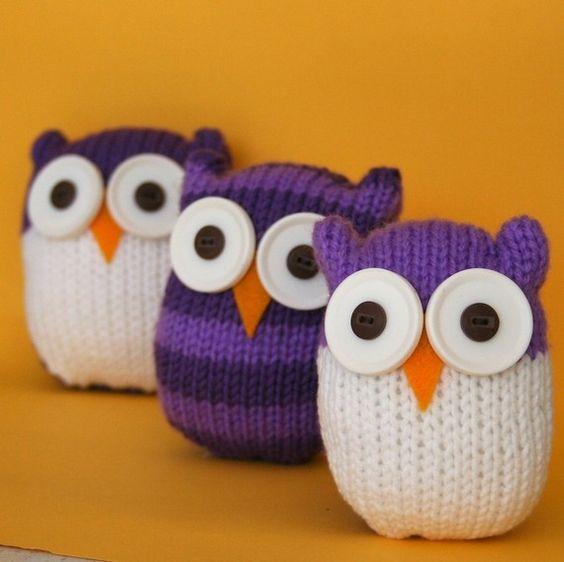 soooo cute!: Knitted Owls, Easy Owl, Knitting Patterns, Knitting Crochet