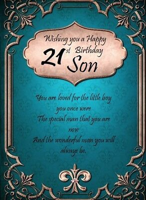 Large Happy 21st Birthday Card For Son By Mary Kirkham For Sale Ebay Happy 21st Birthday Wishes Birthday Cards For Son 21st Birthday Captions