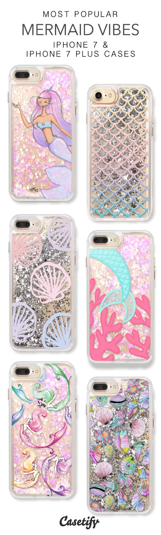 Most Popular Mermaid Vibes iPhone 7 Cases & iPhone 7 Plus Cases. More glitter iPhone case here > https://www.casetify.com/en_US/collections/iphone-7-glitter-cases#/: