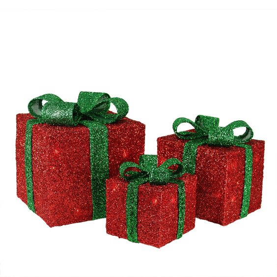 Set of 3 Red Tinsel Gift Boxes with Green Bows Lighted Christmas Yard Art Decorations