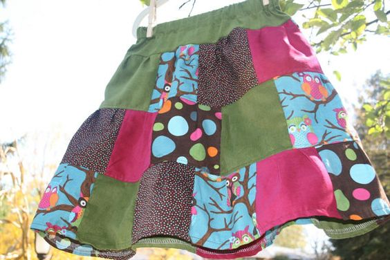 Bright Owls long tiered corduroy patchwork skirt by lylabugcreations