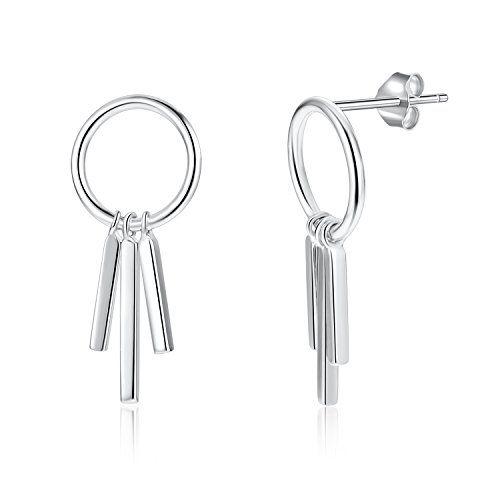 925 Sterling Silver Tear Drop Bar Dangle Earrings