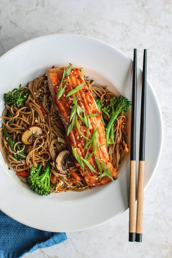 Miso Glazed Salmon With Sesame Soba Noodles | Killing Thyme: