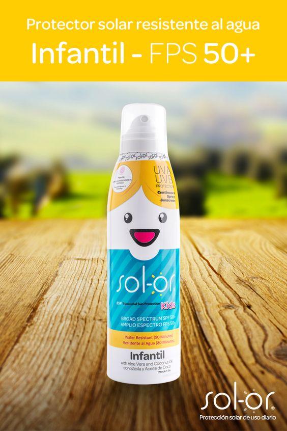Protector solar Resistente al Agua Sol-or Kids -> Ideal para niños de 6 meses en adelante, porque protege su piel de las quemaduras causadas por el sol y los efectos nocivos producidos por la radiación ultravioleta (RUV)  * Hidrata, humecta y suaviza la piel porque contiene Aloe Vera y Aceite de Coco, además es de rápida absorción