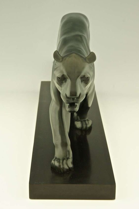 art deco sculpture of walking panther by max le verrier. Black Bedroom Furniture Sets. Home Design Ideas