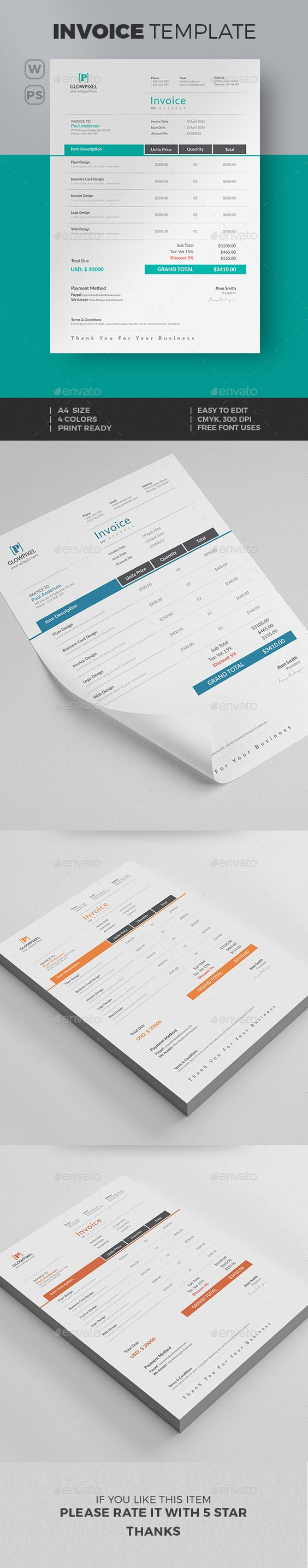invoice | invoice template, photoshop and proposals, Invoice examples