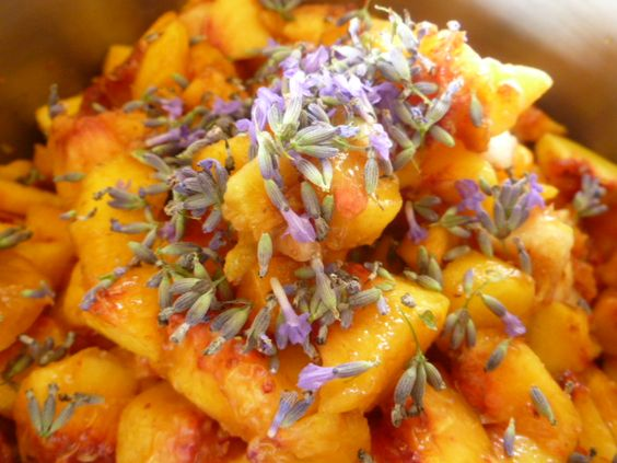 Lavender Peach Jam You will need: 2 kg of yellow peaches / 1 lemon / 6 sprigs of lavender / 800 g brown sugar Peel, stone and cut the peaches in small pieces.  Place in non-reactive pan with lemon, lavender, and sugar. Boil 20 mins.  Process as usual.