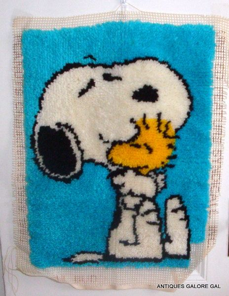 Snoopy Latch Hook Rug Peanuts Unfinished Kit by AntiquesGaloreGal