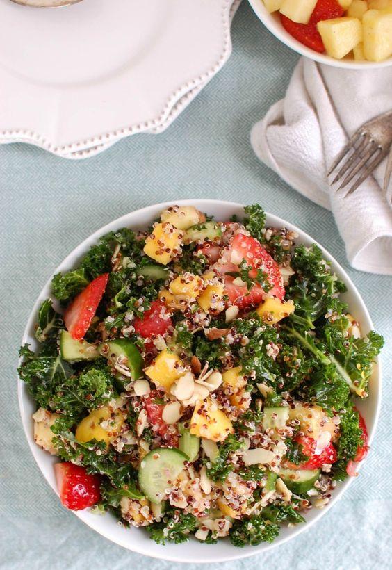 Tropical Kale Quinoa Salad is a light, healthy salad that makes a ...