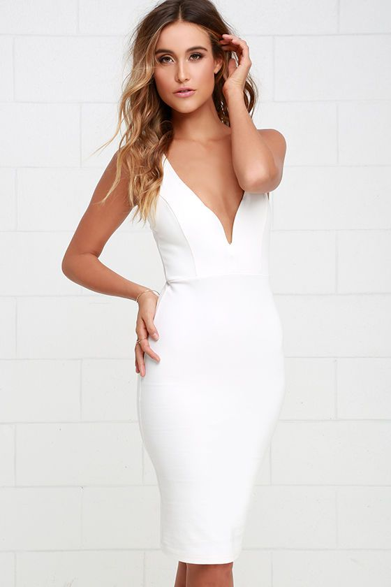White fitted cocktail dresses