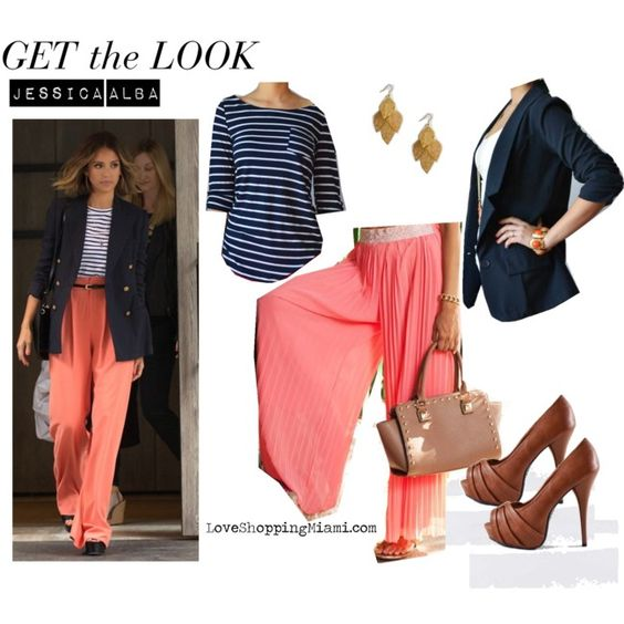 Coral Wide Leg Pants Striped Top And Navy Blue Blazer