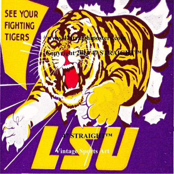 LSU Tigers Father's Day Gifts from 47 STRAIGHT.™ Available soon. LSU Tigers drink coasters made from authentic 1950's LSU art. Best Father's Day Gifts for LSU Tiger fans. #47straight Father's Day Gifts for college football fans. Father's Day gifts made from authentic football tickets and other vintage football art. LSU Tigers gifts.