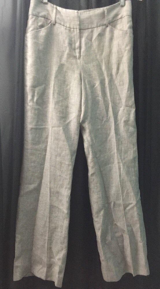 Antonio Melani Womens Sz 4 100 Linen Gray Tweed Dress Pants | eBay