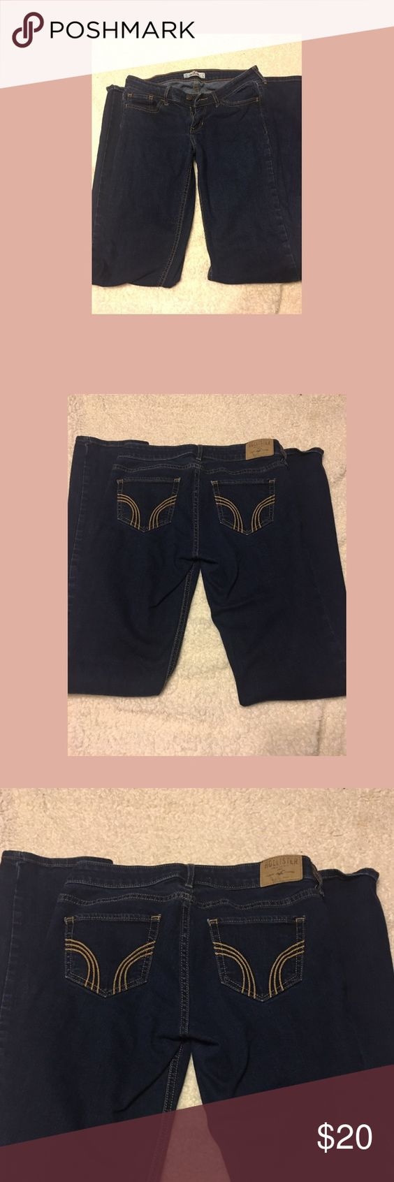 Jeans Size 5L hollister jeans. Dark blue straight leg jeans. Only worn 2-3 times so basically new. Hollister Jeans Straight Leg
