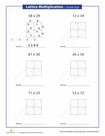 math worksheet : lattice method multiplication double digits  multiplication  : Box Method Multiplication Worksheet
